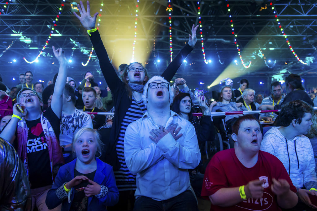 Mentally Handicapt youth enjoys a performance by their favourite Dutch artists, Jaarbeurs, Utrecht, Netherlands